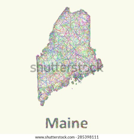 Maine line art map