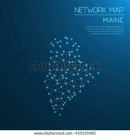 Maine network map. Abstract polygonal US state map design. Internet connections vector illustration.