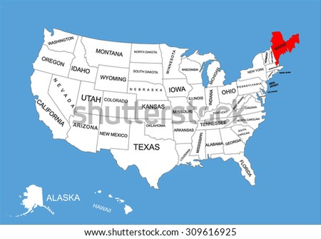 State Washington Usa Vector Map Isolated Stock Vector - Maine state usa map