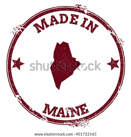 Maine vector seal. Vintage USA state map stamp. Grunge rubber stamp with Made in Maine text and USA state map, vector illustration. - stock vector