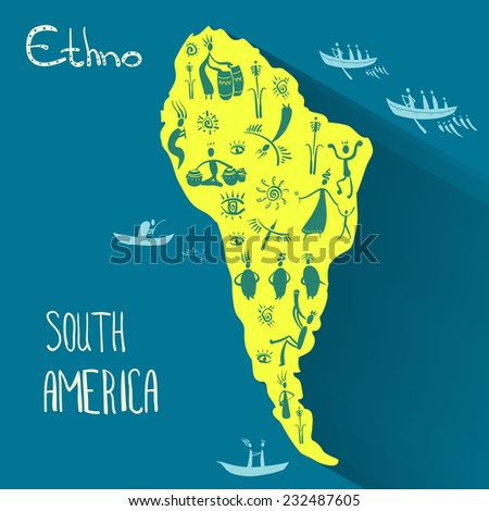 Mainland South America in ethnic style - stock vector
