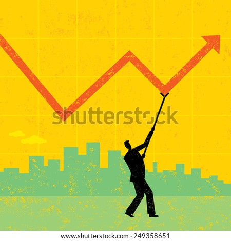 Maintaining Profits A businessman using a crutch to hold up profits during tough economic times. The man and background are on separate labeled layers. - stock vector