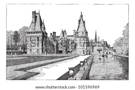 Maintenon Castle in Centre, France, during the 15th Century, vintage engraved illustration. Dictionary of Words and Things - Larive and Fleury - 1895 - stock vector
