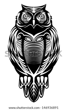 Majestic owl bird for mascot or tattoo design or idea of logo. Jpeg version also available in gallery - stock vector