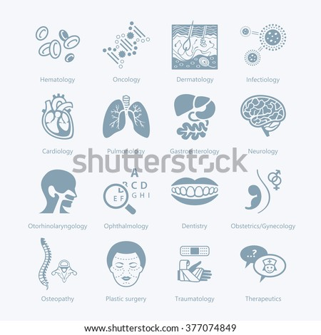 Major medical specialties and human organs icons - stock vector
