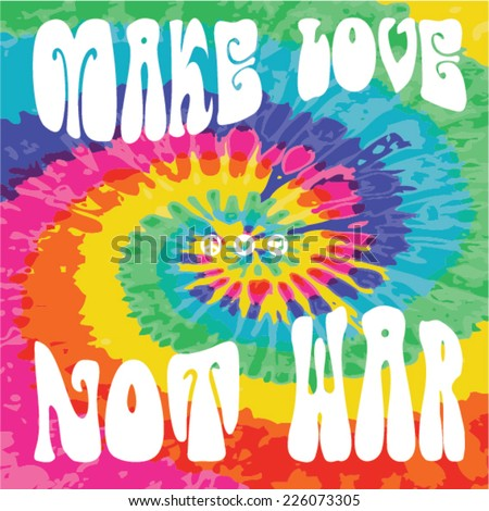 Make Love Not War - Hippie style - stock vector