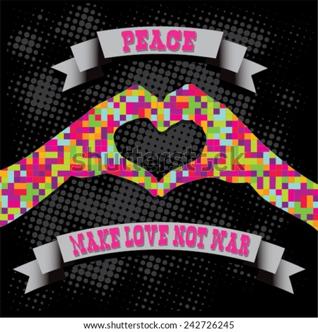 Make Love Not War - Hippie style. PEACE Pixel Vector Illustration