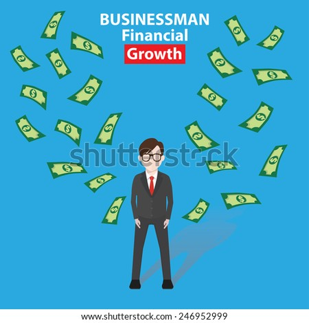 Make money, Businessman, business concept on blue background, clean vector