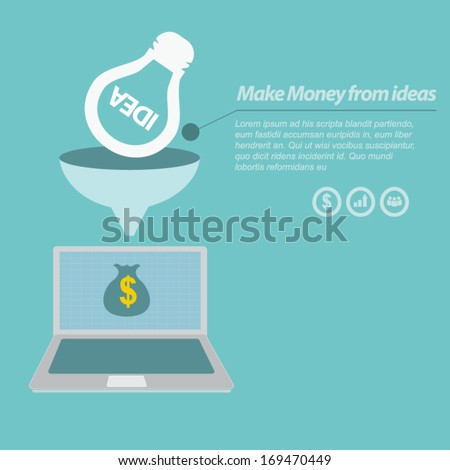 Make Money from ideas on computer notebook - stock vector