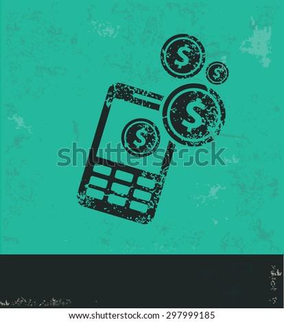 Make money on mobile phone design on green background,grunge vector - stock vector