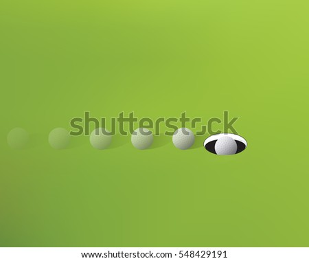 Make the putt, close up vector illustration