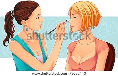 Make-up artist - stock vector