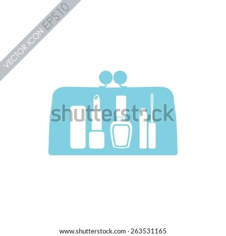 Make up bag with cosmetics vector icon. Ladies handbag icon. - stock vector