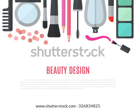 Make up concept vector flat illustration with cosmetics, makeup table, mirror, make-up brushes, perfume, nail polish and comb are laid out in row. Beauty concept design isolated on white background. - stock vector