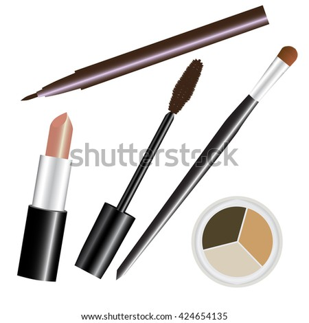 make-up cosmetic set nude brown vector illustration