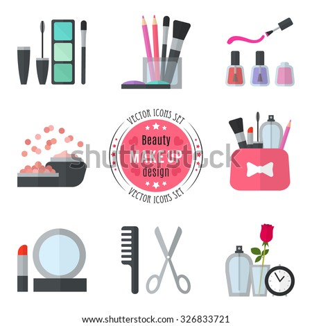 Make up flat icons. Vector illustration for cosmetic design. Beauty style isolated on white background. Make-up artist objects. Makeup accessories for pretty woman. Bright colors. - stock vector