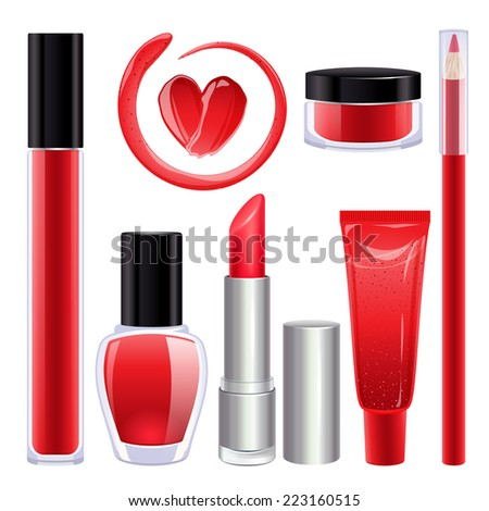 Make-up set for lips and nails. Lipstick, nail polish and lip gloss smudges. Glass pot with product. Pencil lip liner. Red color. - stock vector