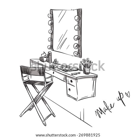 Make up. Vanity table and folding chair illustration - stock vector