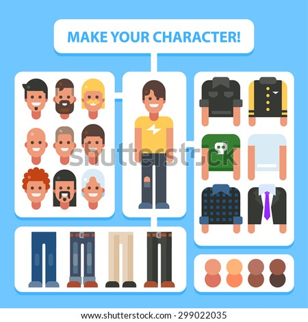 Make your flat character. Man in different versions. Vector stock illustration. - stock vector
