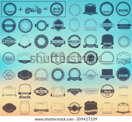 Make your labels or Logotypes concept set. Retro typography, badges, logos, borders, ribbons, emblem, stamp, and Objects. Vector design templates - stock vector