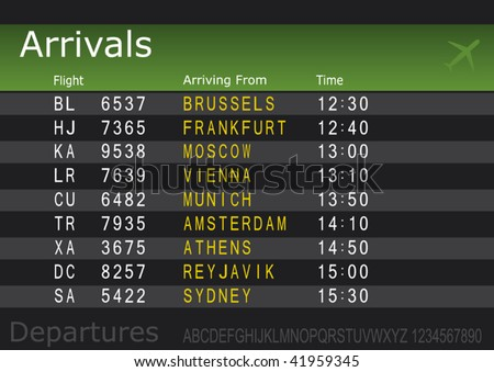 Make your own Airport Arrivals or Departures Board with spare text - stock vector