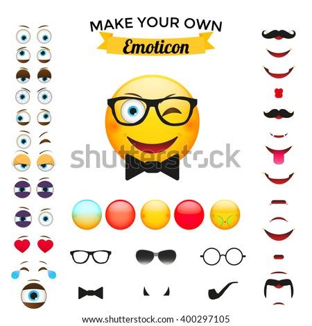 Make Your Own Emoticon. Emoticon creator. Emoji creator. Big collection . Emoticon creator  vector.  - stock vector