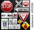 Make your own glossy glassy web 2.0 warning / danger road signs in vector form (no park; one way; rail road; stop; weight limit; buckle up; no enter; yield, stop ahead...) Part 2. - stock photo