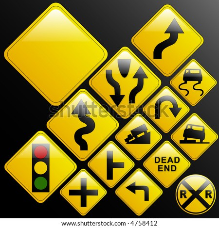 Make your own glossy glassy web 2.0 warning danger road signs or use design elements/icons from the included vectors (left turn; slippery; dead end; intersection; curvy road; light ahead; truck; car) - stock vector