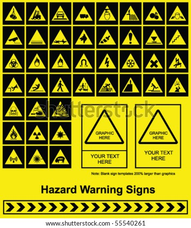 Make your own Hazard Warning sign graphics individually layered - stock vector