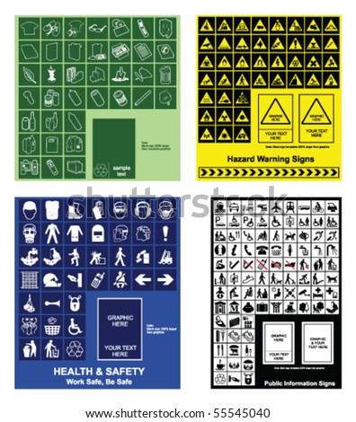 Make your own recycling, hazard warning, health & safety and public information signs - stock vector