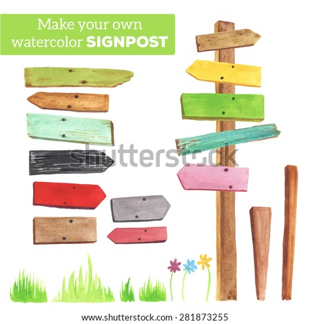 Make your own signpost. ?ollection of various empty wooden sign on white background. Each one is separately.   - stock vector