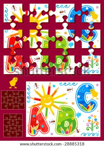 Make your own vector jigsaw puzzle kit - full page illustration, cutting guidelines, ready made pieces - or use as design elements ( for high res JPEG or TIFF see image 28885321 )