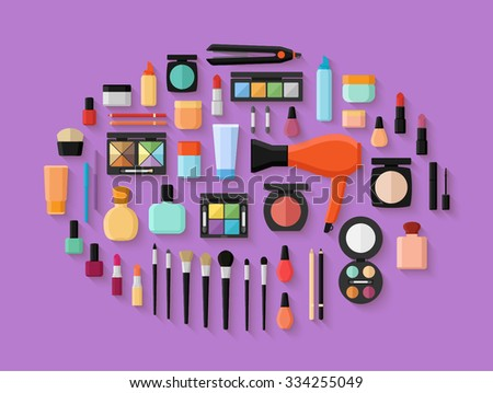 Makeup and cosmetics products and tools with lipstic makeup brushes eyeshadow mascara. Flat style vector illustration - stock vector