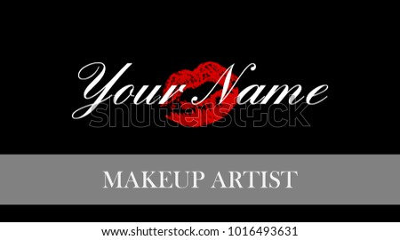 Makeup artist business card business cards stock photo photo makeup artist business card business cards template with red trace kiss lips print elegant fbccfo Choice Image