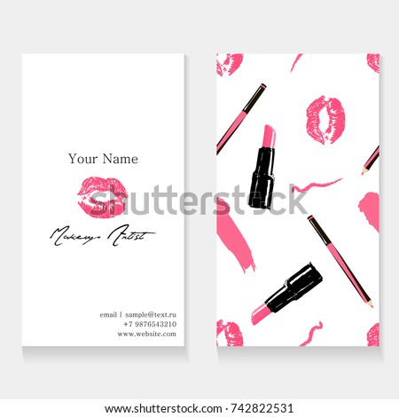 Makeup artist business card template cosmetics stock vector makeup artist business card template cosmetics seamless pattern background pink imprint of lips kissing colourmoves
