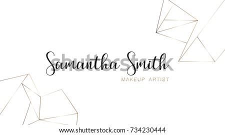 Makeup Artist Business Card Template Gold Stock Vector - Artist business card template