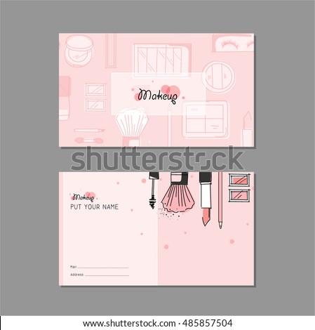 Makeup artist business card vector template stock photo photo makeup artist business card vector template design with brush pencil eyeshadow lipstick colourmoves