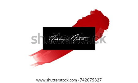 Makeup artist business card vector template stock vector 742075327 makeup artist business card vector template makeup stroke and smear red lipstick hand drawn reheart Choice Image