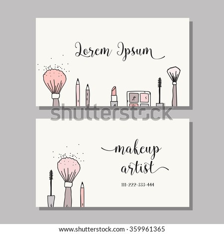 Makeup artist business card. Vector template with makeup items pattern - brush, pencil, eyeshadow, lipstick and mascara - stock vector