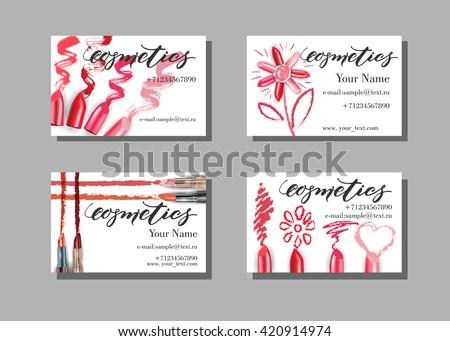 Makeup Artist Business Card Vector Template Stock Vector - Makeup artist business card template