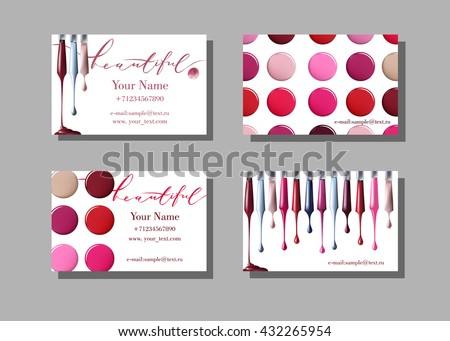 Makeup Artist Business Card Vector Template With Items Pattern Nail Polish Fashion And