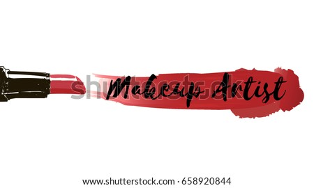 Makeup artist business card vector template stock vector 658920844 makeup artist business card vector template with makeup items pattern smears red lipstick reheart Images