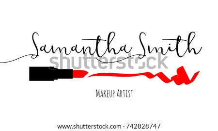 Makeup artist business card vector template stock vector 742828747 makeup artist business card vector template with makeup items pattern smears red lipstick reheart Choice Image