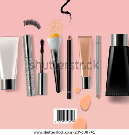 Makeup brush and cosmetics, vector illustration. - stock vector