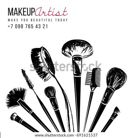 Makeup Brushes Bouquet Makeup Artist Tools Stock Vector 691621537 - Shutterstock
