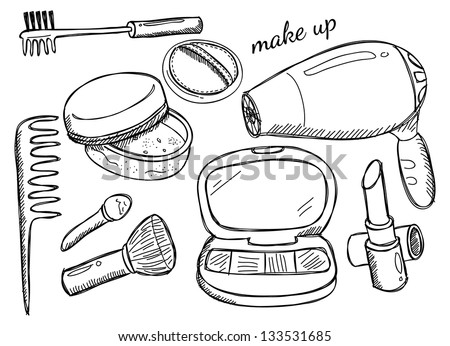 makeup kit - stock vector