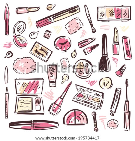 makeup products set cosmetics hand drawn stock vector