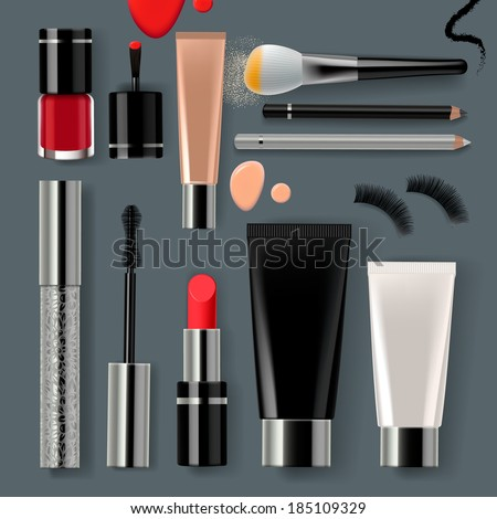 Makeup set with collection of make up cosmetics and accessories, vector illustration. - stock vector