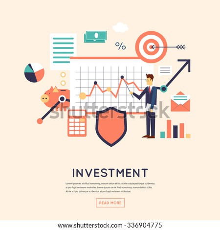 Making investments, growing business profit, strategic management, business, finance, consulting, building effective financial strategy. Flat design vector illustration. - stock vector
