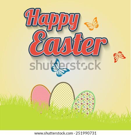 Making leaflet Happy Easter for design vector - stock vector